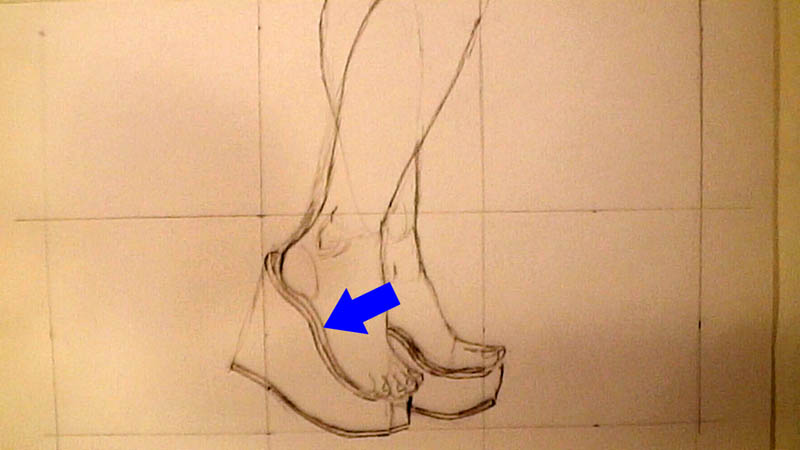 05 drawing wedge high heels shoe details