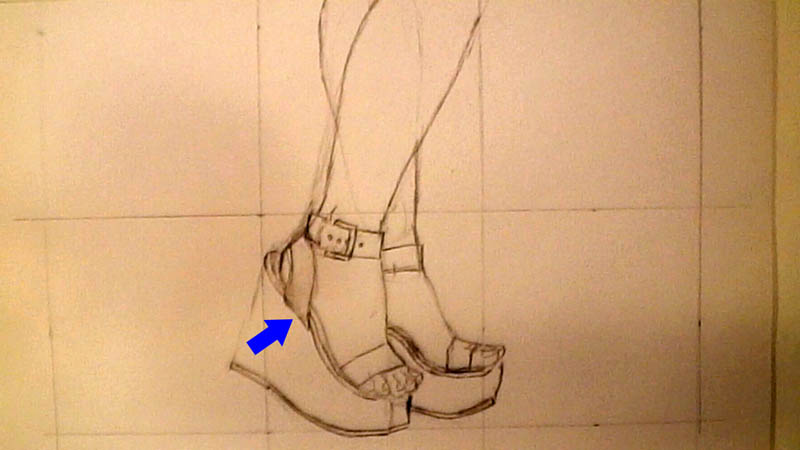 06 drawing wedge high heels straps