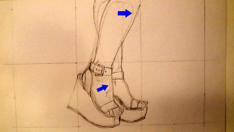 07 drawing wedge high heels shade lines