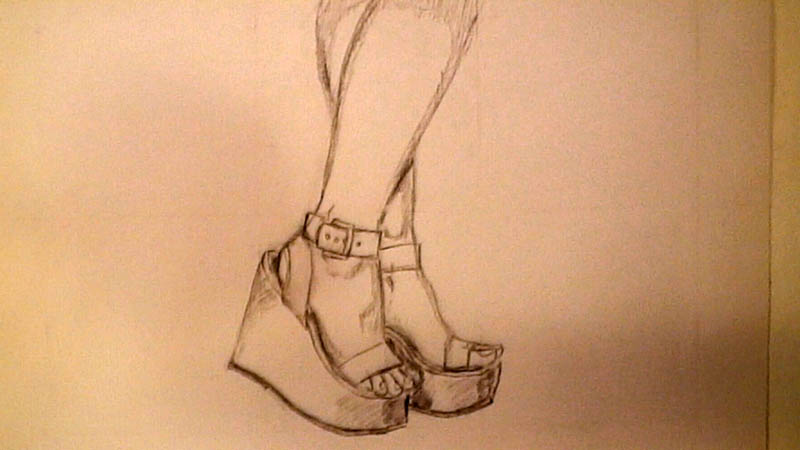 how to draw wedge high heel shoes lets draw people