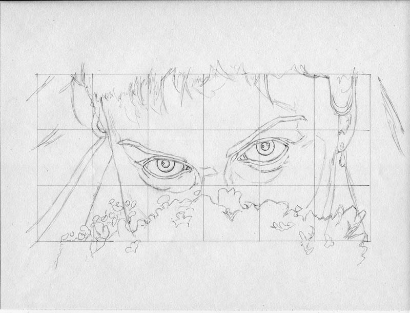 eyes of the bride grid drawing example