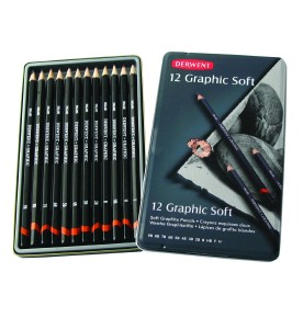 Graphite pencils are available in a range of leads from hard and light to soft and black.
