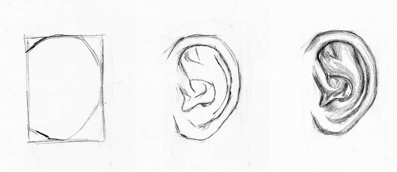 how to draw faces ear