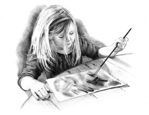 http://www.dreamstime.com/stock-photos-pencil-drawing-little-artist-girl-image12712993