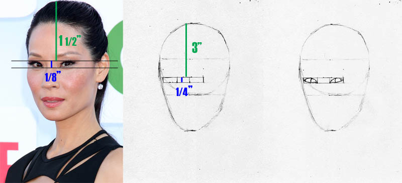 drawing lucy liu eye placement