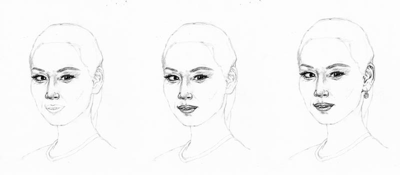 drawing lucy liu face details