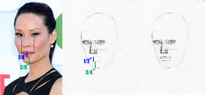 drawing lucy liu mouth placement