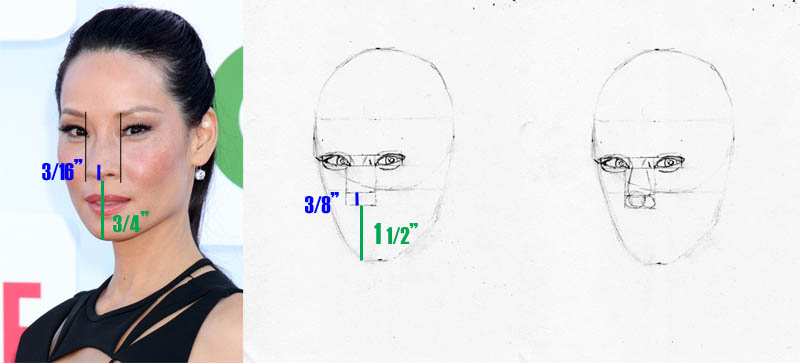 drawing lucy liu nose placement