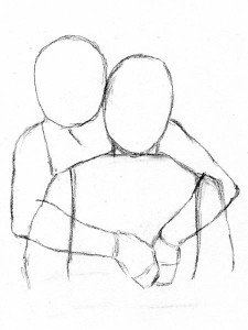 how to draw people hugging from behind the back