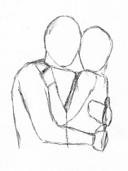 Couples Hugging Images Drawing Method 4 Frontal Hugging
