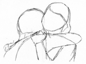 how to draw people hugging frontal over shoulder