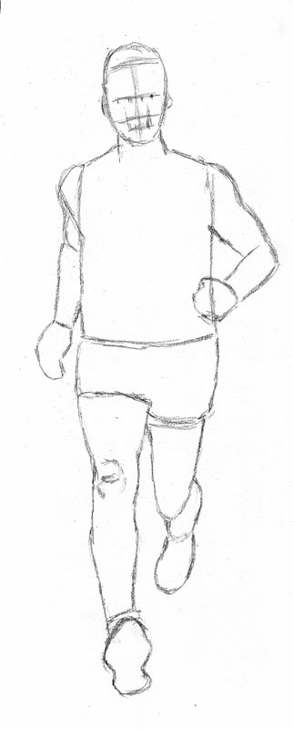 How to draw a man running outline