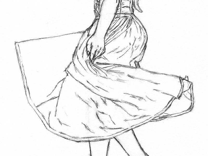 22 step by step how to draw a dress lower folds 3