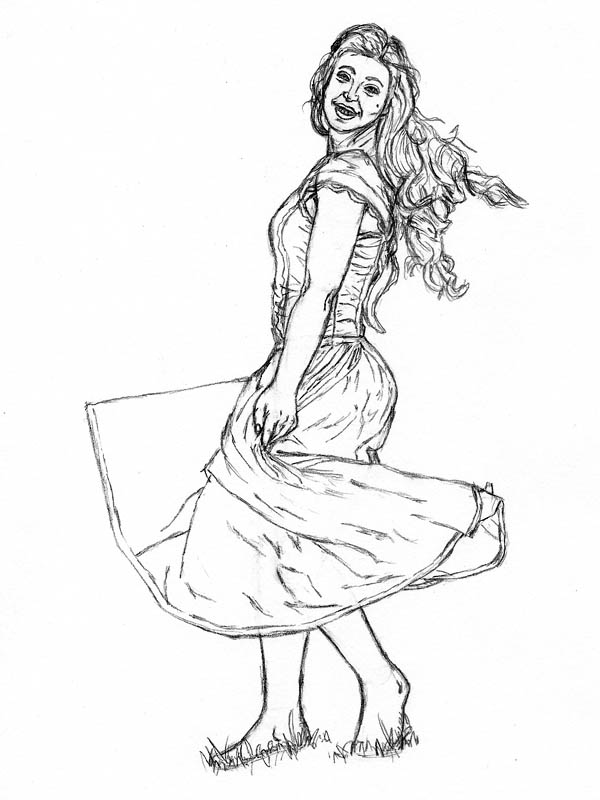 how to draw a woman in a dress