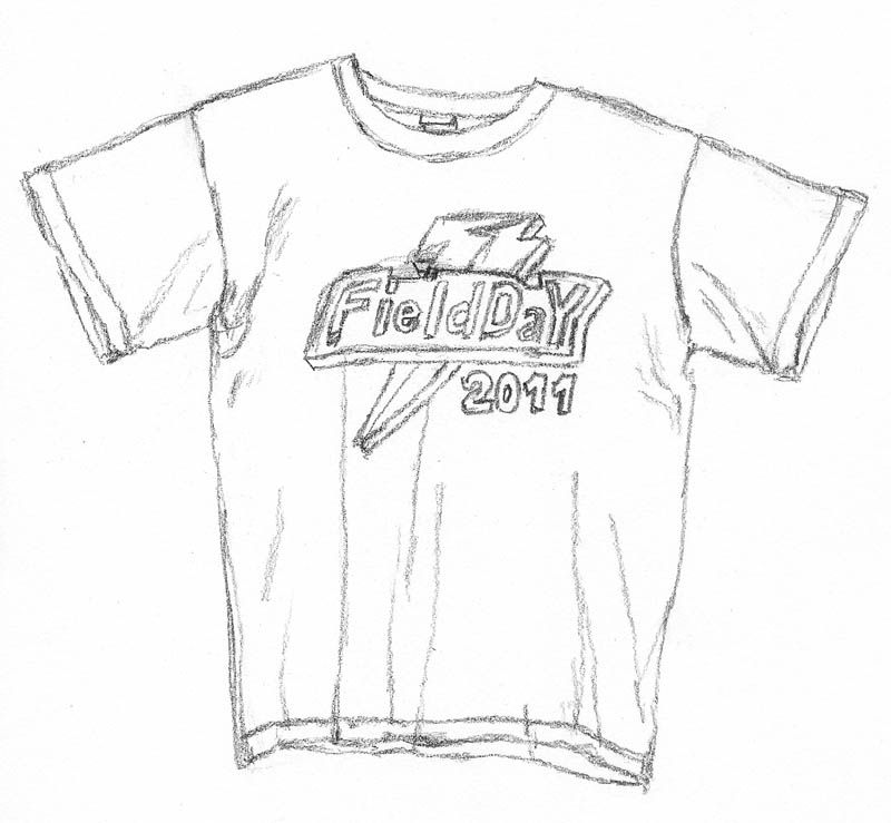 drawing of a t-shirt with design
