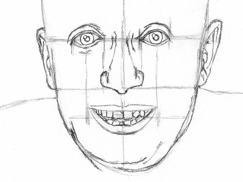 02 how to draw an old man facial features