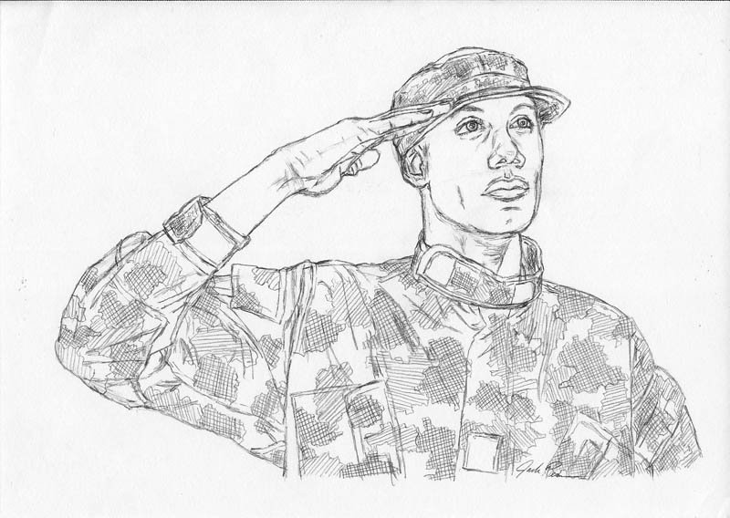 how to draw an army man saluting let s draw people