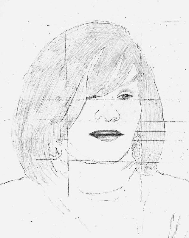 05 how to draw whitney houston hair step 1