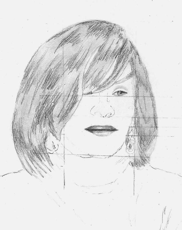 07 how to draw whitney houston hair step 3