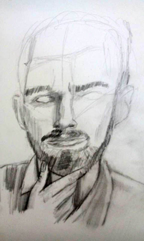 05 drawing of a man with a beard