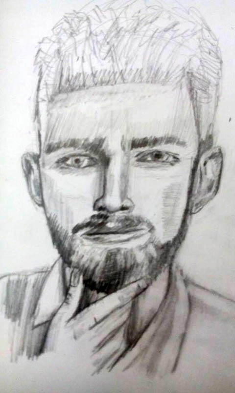 drawing of a man with a beard