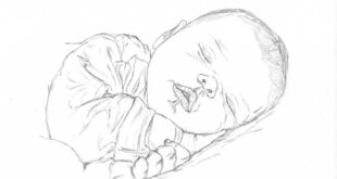 drawing of a baby sleeping