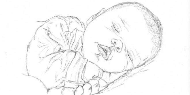 Line Drawing Baby Face : How to make a drawing of baby sleeping let s draw people