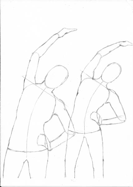 03 how to draw women stretching arms guidelines