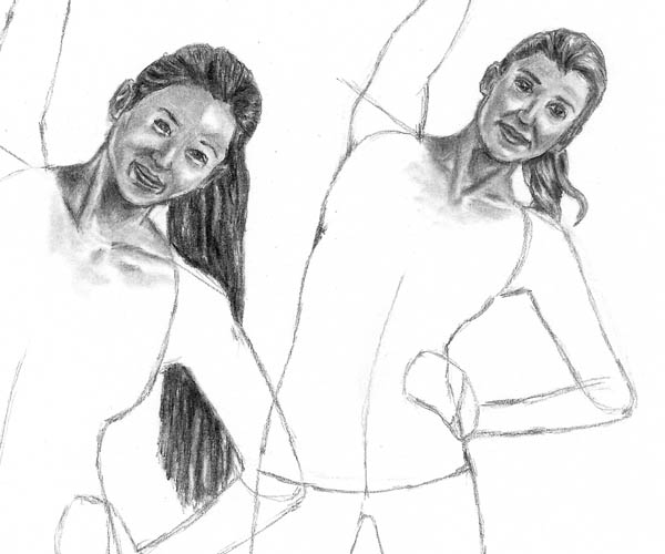 09 how to draw women stretching hair blend