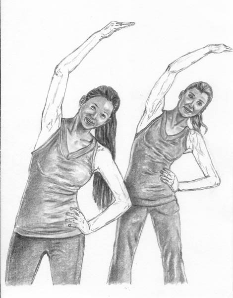 13 how to draw women stretching arms details
