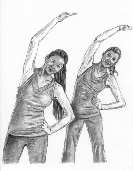 14 how to draw women stretching arms tones