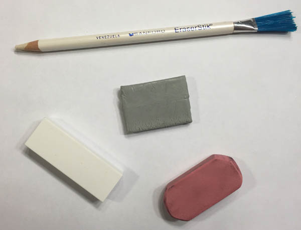 A pencil eraser, a white or pink eraser, and a kneaded eraser are just a few erasers that might come in handy while drawing.