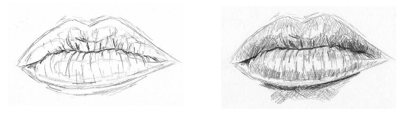 sketches of lips lip shading 01