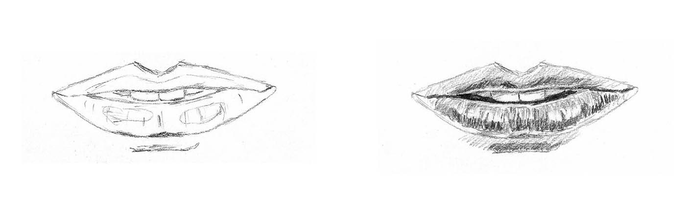 sketches of lips lip shading 02