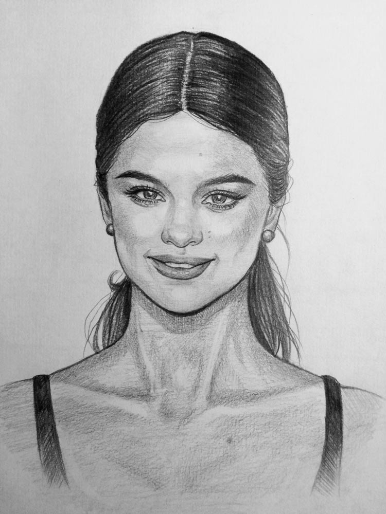 Scribble Drawing Of Face : How to draw selena gomez let s people