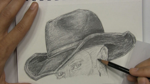 how to draw a cowboy hat on a head