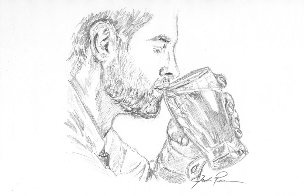 Man Drinking Can Of Beer