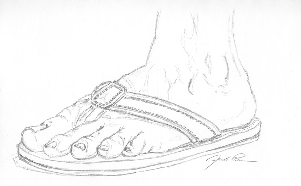 Freehand Drawing Of A Foot In Flip Flops Lets Draw People